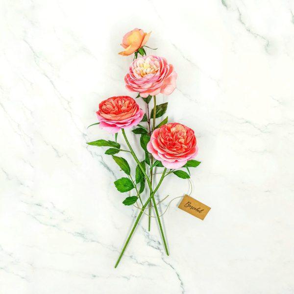 handmade roses paper, flores para siempre, flores de papel crepe