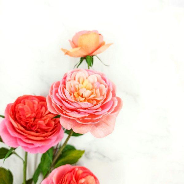 rosas de papel crepé inglesas, flores para siempre, flores de papel crepe