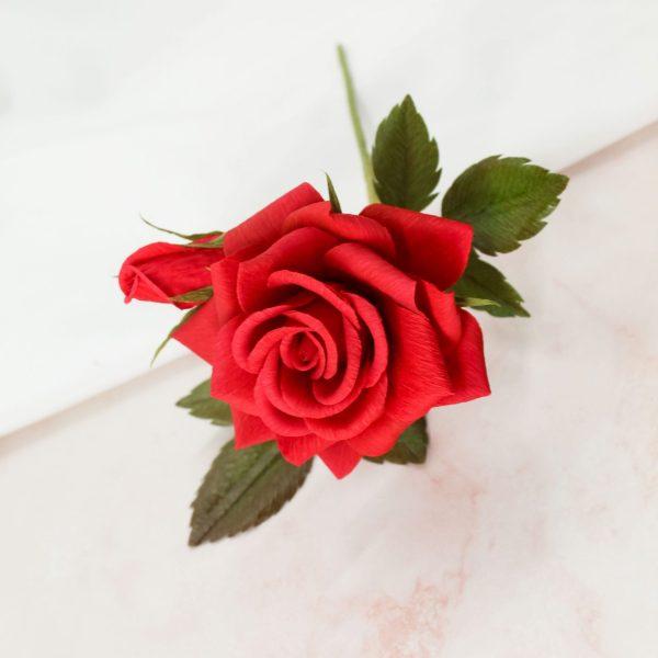 rosa roja papel crepé realista, flores para siempre, arte floral en papel, diseño floral en papel, comprar rosas de papel realistas