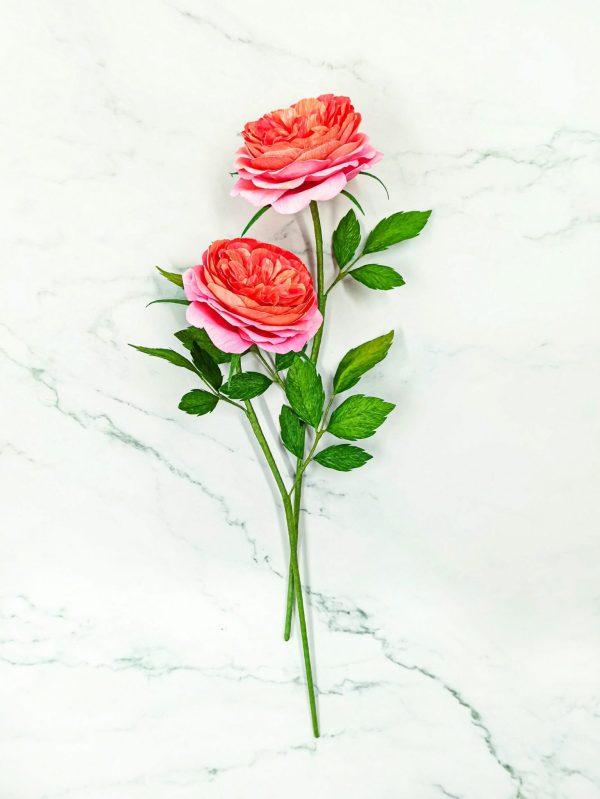 rosas inglesas de papel, rosas de jardín de papel, ramo de novia de rosas inglesas de papl, ramo de rosas de jardín de papel, flores para siempre