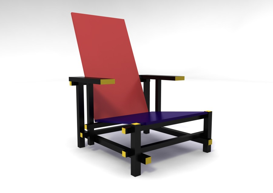 Red and Blue Arm Chair inspired by Gerrit Rietveld
