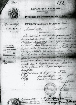 The official death certificate for Madame Lalaurie