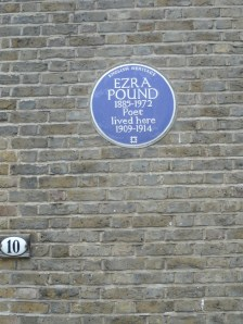 Blue plaque for Ezra Pound at 10 Kensington Church Walk, just a few streets down from Joyce's flat