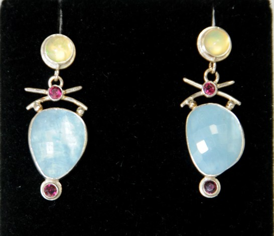 Renee Davis Opal Garnet Aqua and Sterling Silver Earrings