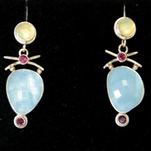 Renee Davis Opal Garnet Aqua and Sterling Silver Earrings