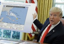Trump Displays Altered Map of Dorian's Path to Include Alabama