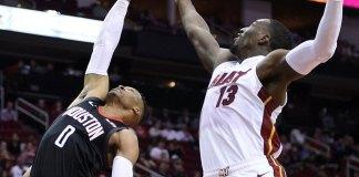 Harden, Westbrook Help Rockets Down Heat 117-108