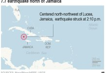Magnitude 7.7 earthquake hits between Cuba and Jamaica