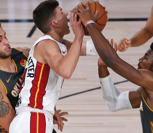 Mike Muscala hits 2 late 3s, Thunder rally past Heat