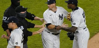 Chapman's 1st save seals Yankees' 5-3 win over Tampa Bay