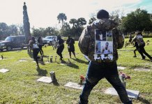 Mother of slain Florida teen shot during burial service