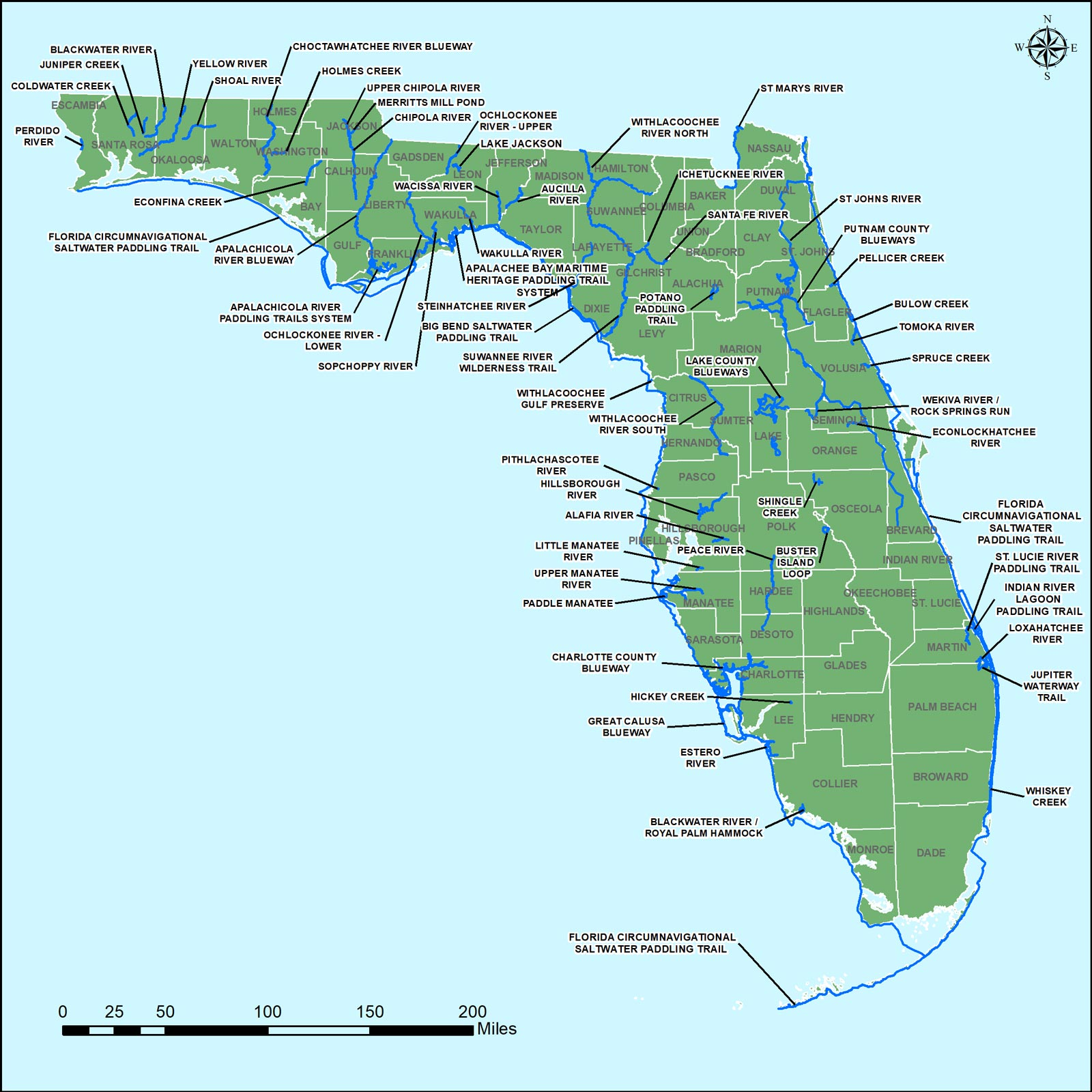 In House Graphics Ogt Designated Paddling Trails Map May