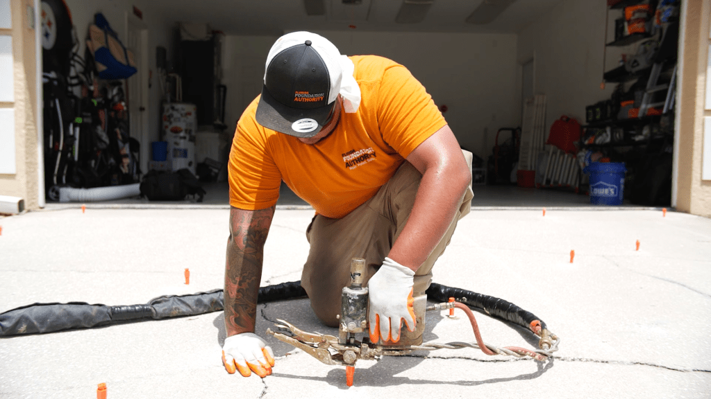 FFA crew installing PolyRenewal concrete lifting