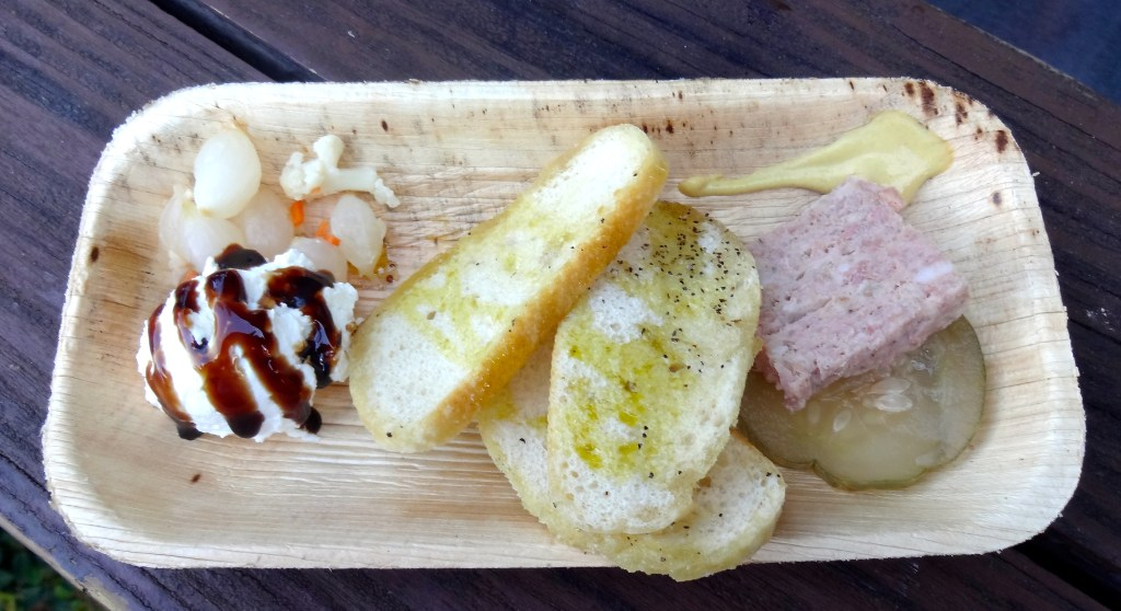 Florida Larder Board Orlando-made Ricotta Cheese, Cahaba Farms Micro Onions, Extra Virgin Olive Oil and Balsamic, Country Pate and House-made Pickles