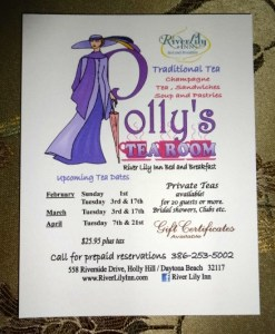 Upon check-in we received this advertisement for Polly's Tea Room
