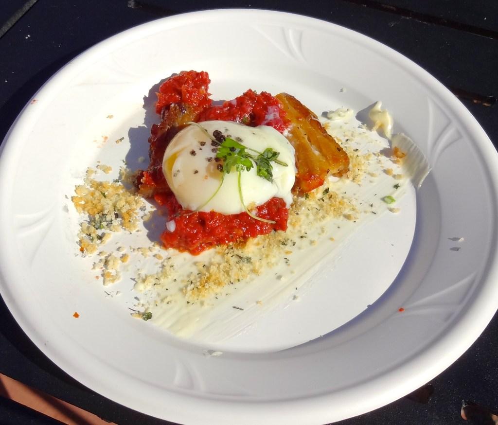 Deconstructive BLT with Crispy Pork Belly, Tomato Jam, and Soft Poached Egg