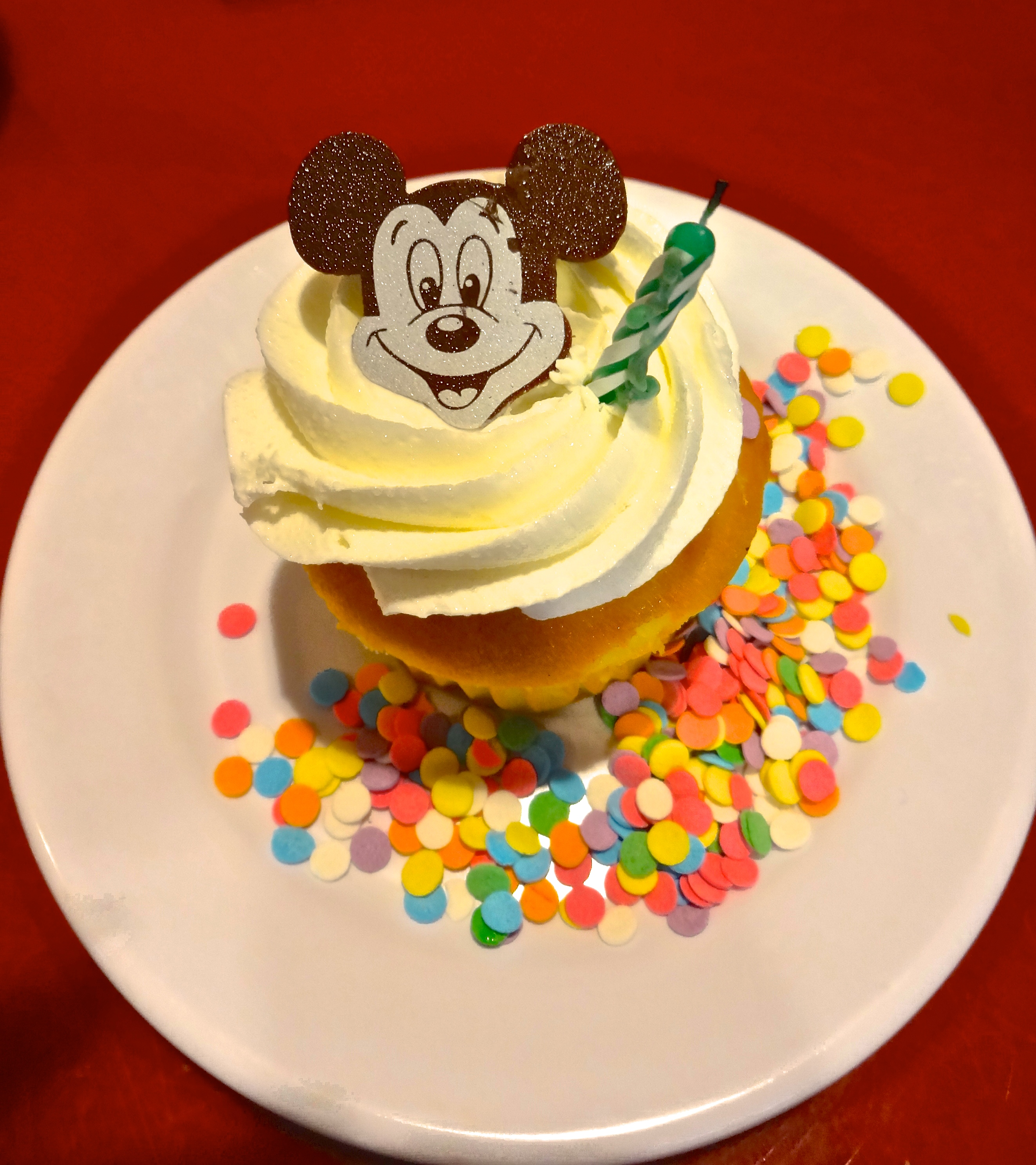 Apollo's Surprise Birthday Cupcake at Chef Mickey's