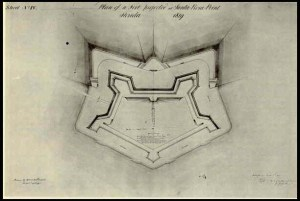 This plan shows the overall outline of the original Fort Pickens. The bottom of the plan shows the water fronts of the fort.