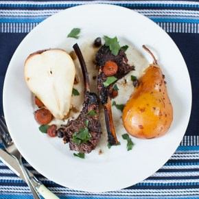 roasted lamb with pears and pistachios, lamb, roasting