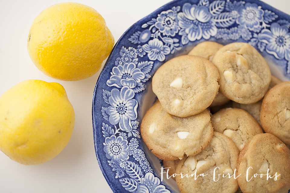 white chocolate chip lemon cookies, cookies, baking, dessert, lemon