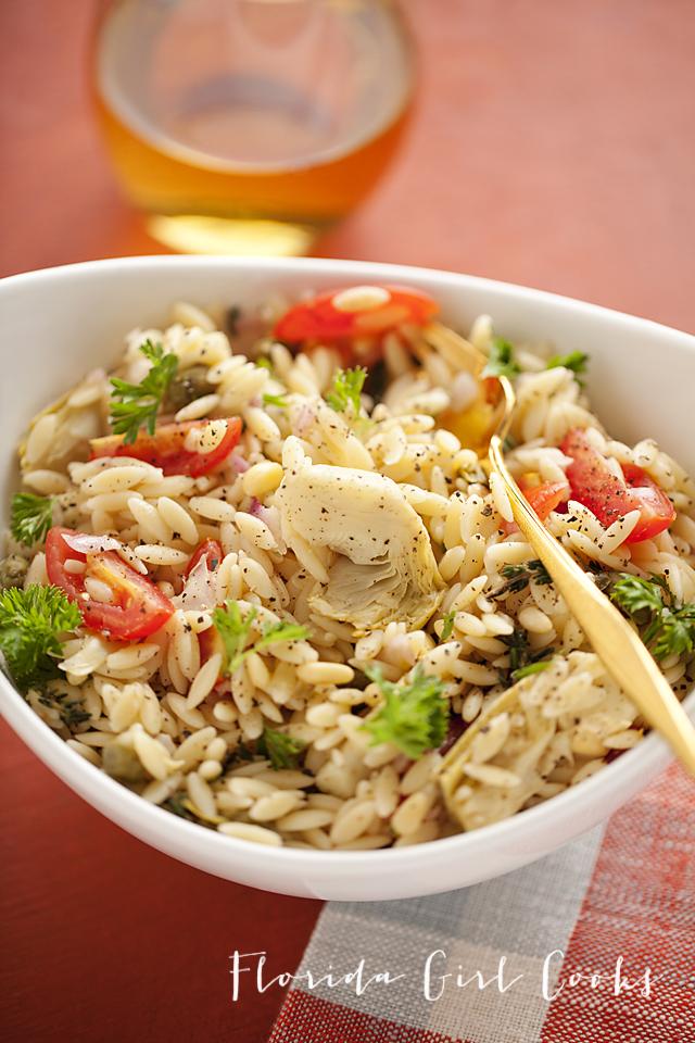 italian orzo pasta salad, pasta salad, summer entertaining, summer, Italian cooking