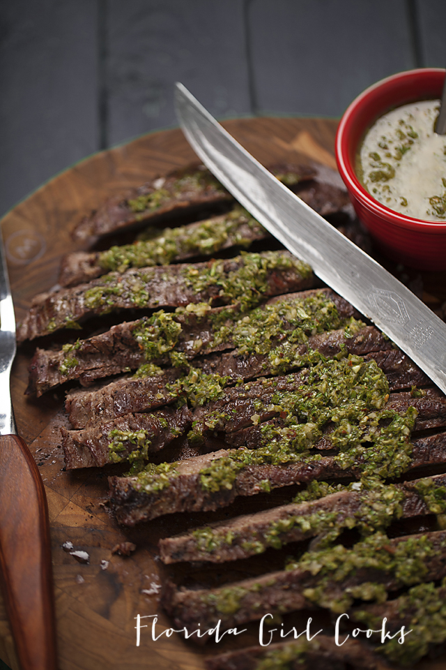 chimichurri flank steaks, steaks, summer, grilling, summer entertaining, flank steak