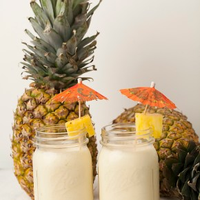 CREAMY PIÑA COLADAS, coconut rum, cocktails, summer, pineapple