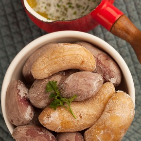 salt crusted fingerling potatoes with herb butter, summer entertaining, summer, potatoes, side dish