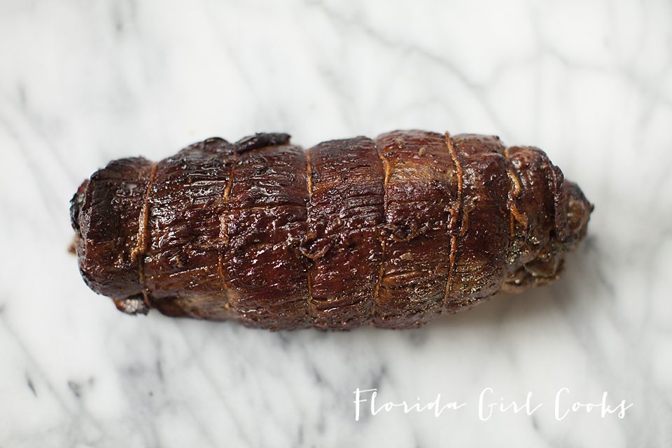 roast flank with porcini and herbed butter, steak roll, herbed butter, roasting, beef, dinner