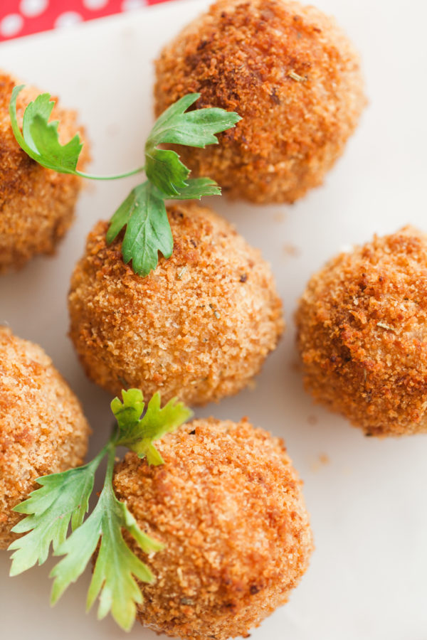 air fried arancini rice balls, risotto rice balls, arancini, italian appetizer, finger food, summer finger food, kid friendly food, florida girl cooks