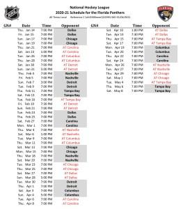 Florida Panthers start times