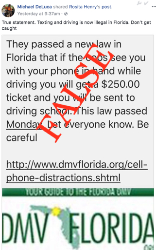 FAKE NEWS ALERT: The Texting and Driving Law in Florida HAS