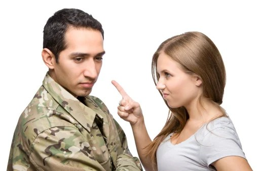 A military couple arguing