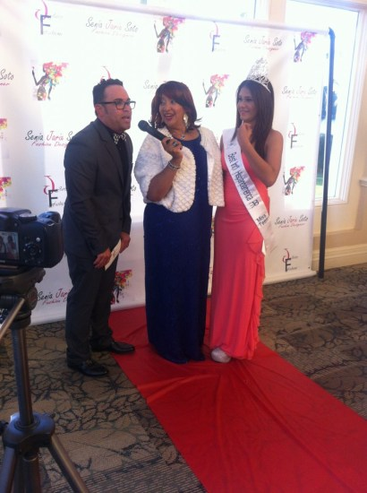 """""""The Jorge Show"""" host Jorge Alvarado (left) interprets for Jarix Fashion Show hostess Angie Bee (center) and Miss Teen World of Puerto Rico, Genesis M. Caraballo during her red carpet interview. Source: Mellissa Thomas."""