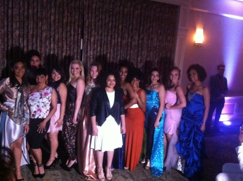 Designer Senia Jarix Soto (center, black and white) joins her models at the end of the show. Source: Mellissa Thomas.