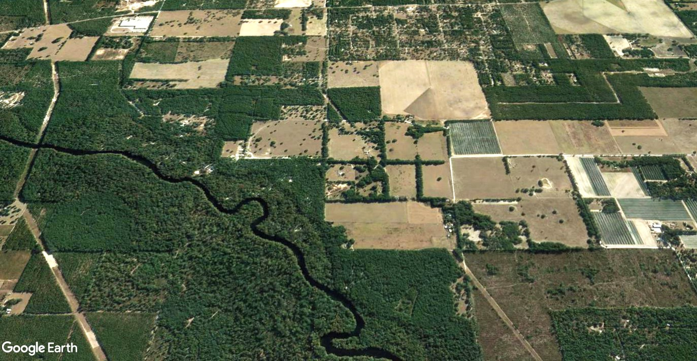Aerial photo of pine trees, a center pivot and other row crops, with the Sante Fe River winding in the bottom left corner.