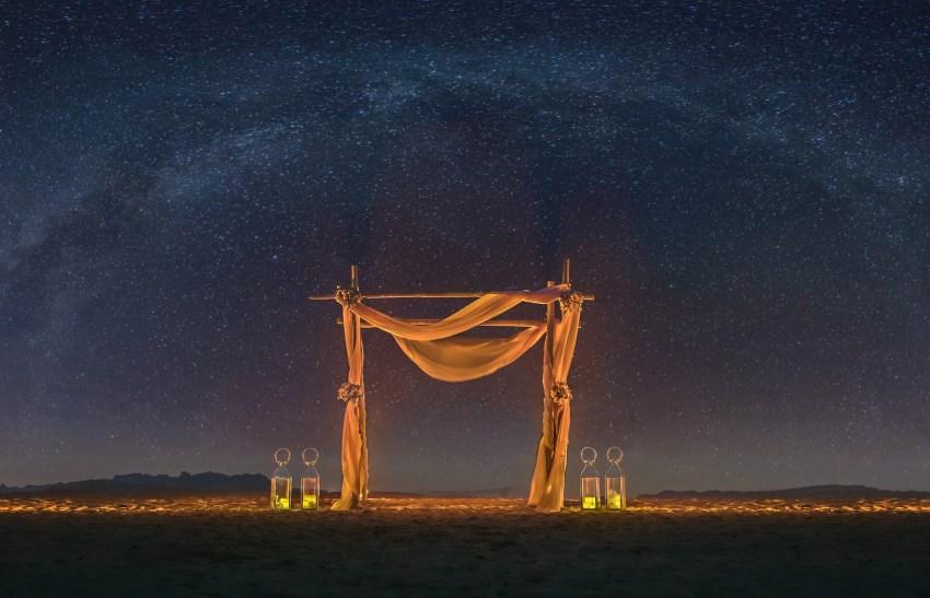 beach-ocean-wedding-decor-at-night Night Wedding Decoration