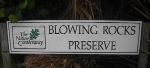 Jupiter Island sign for Blowing Rocks preserve