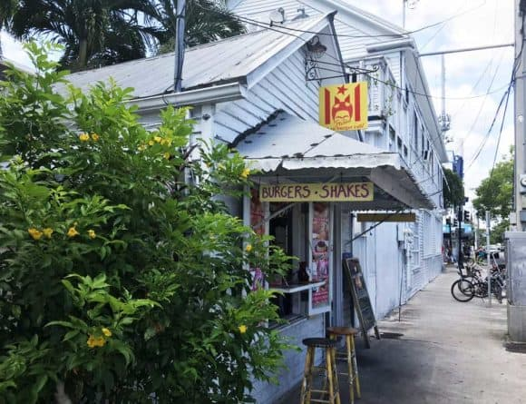 Frita's Cuban Burger Cafe in Key West has a few outdoor seats where you can enjoy Cuban sandwiches, arepas, spicy Cuban burgers and other budget-friendly foods. (Photo: Bonnie Gross)