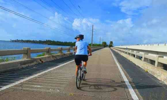 Bicycing one of the scenic bridges on the Florida Keys Overseas Heritage Trail from MM 15 to MM 5.