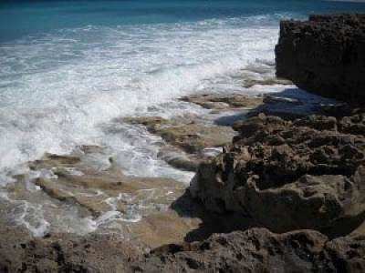 Craggy rocks at Blowing Rocks, Jupiter, Florida, beach