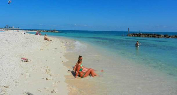 The beach is rocky but beautiful with good snorkeling.
