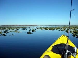 Kayak fishing on Orange Lake