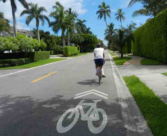 A bike lane in Naples, Fl, that gives you access to beaches that feel exclusive.