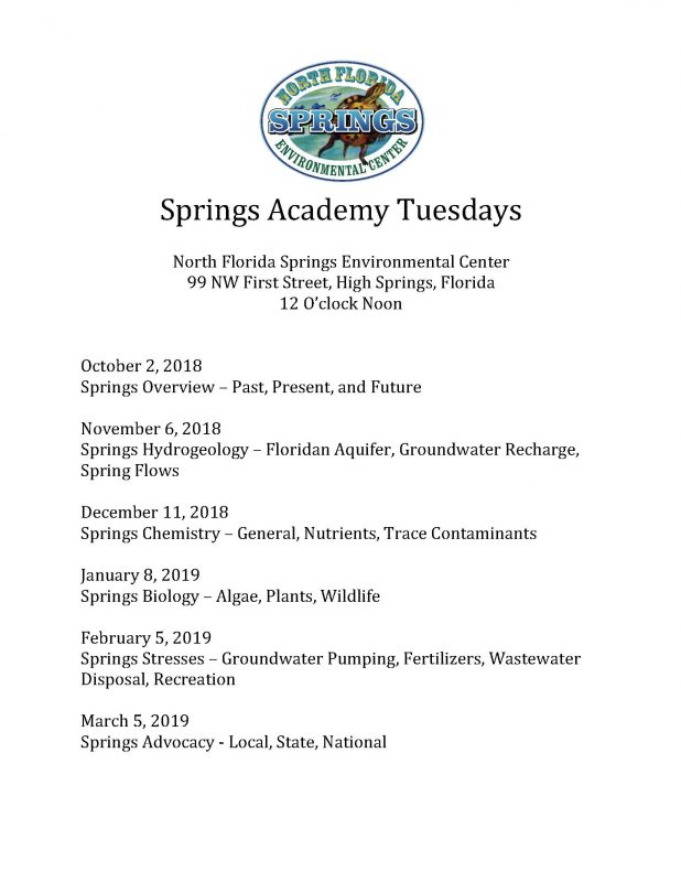 Springs Academy Tuesdays_Oct. 2018 through March 2019