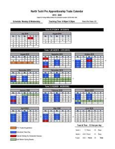 2019-2020 Updated North Tech Calendar