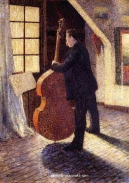 Le Violoncelliste, Louis Hayet, collection départementale du Val d'Oise