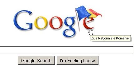 Personalizarea Google de Ziua României.