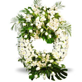 Corona-funeraria-blanca-con-rosas-y-orquÔëádeas-1
