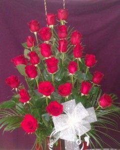 Centro de rosas rojas en Alcobendas
